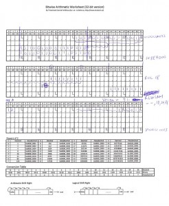 Example of worksheet in use (scanned)